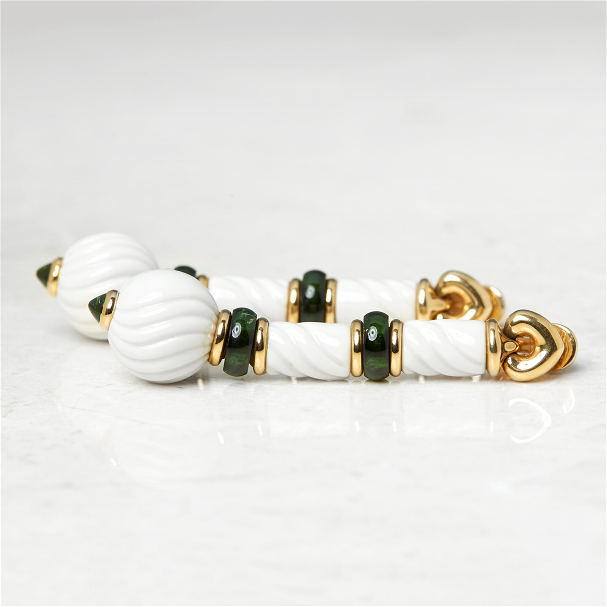 Bulgari 18k Yellow Gold & Porcelain Green Tourmaline Chandra Earrings
