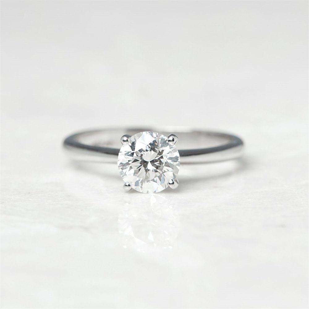Platinum, total weight - 3.88 grams Platinum Round Brilliant Cut 1.00ct Diamond Engagement Ring