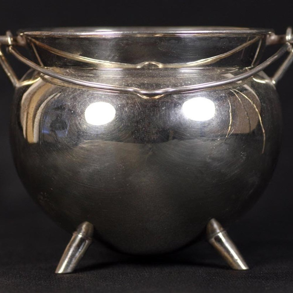 Christopher Dresser Elkington Silver Plated Cauldron & Stand By Christopher Dresser C.1885