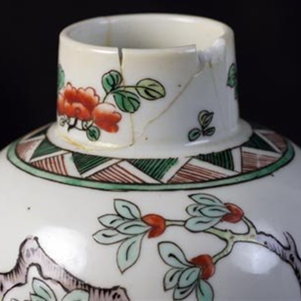 Lidded Famille Verte Vases With Ho-Ho Birds 19th Century