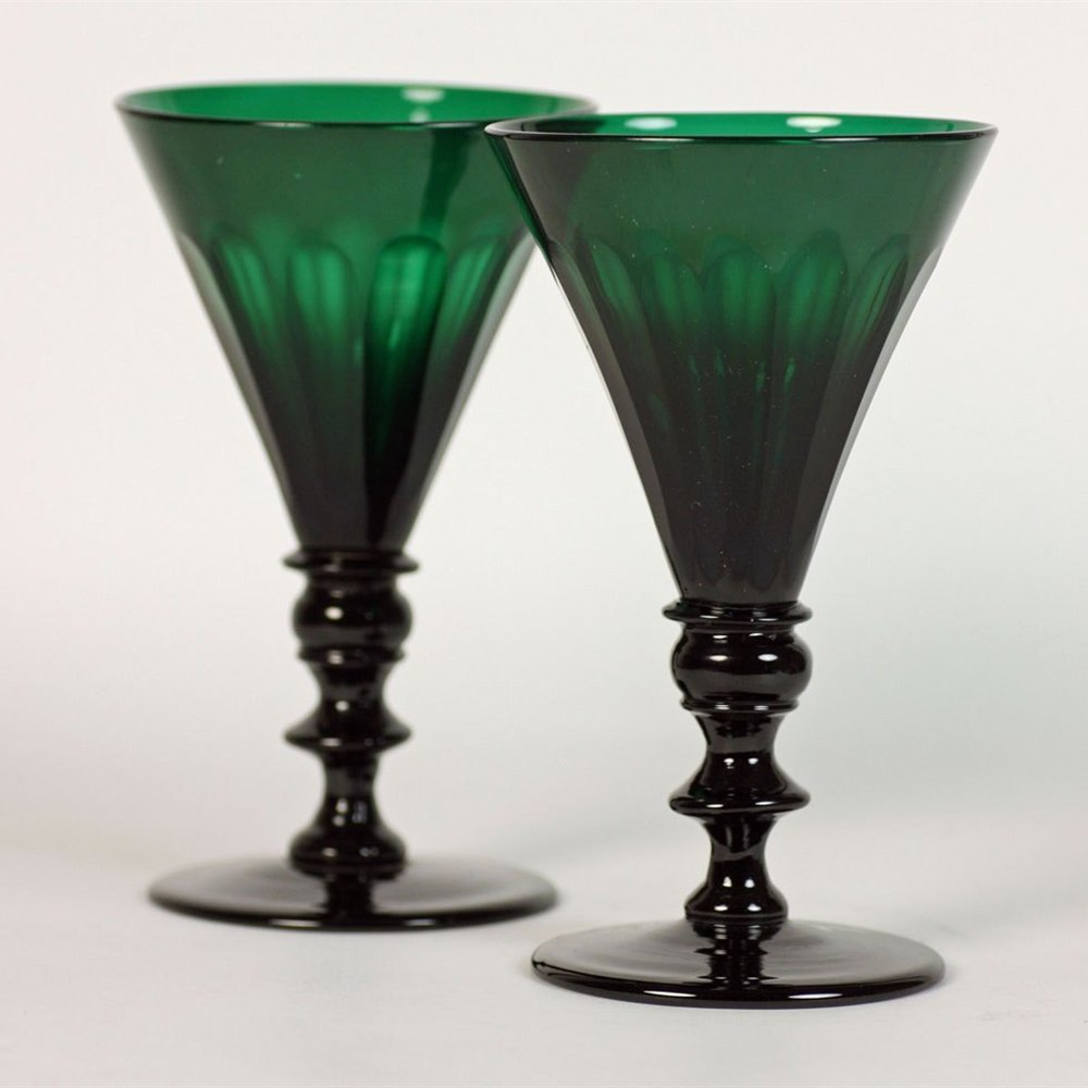 Georgian Green Glass Wine Glasses Circa 1820