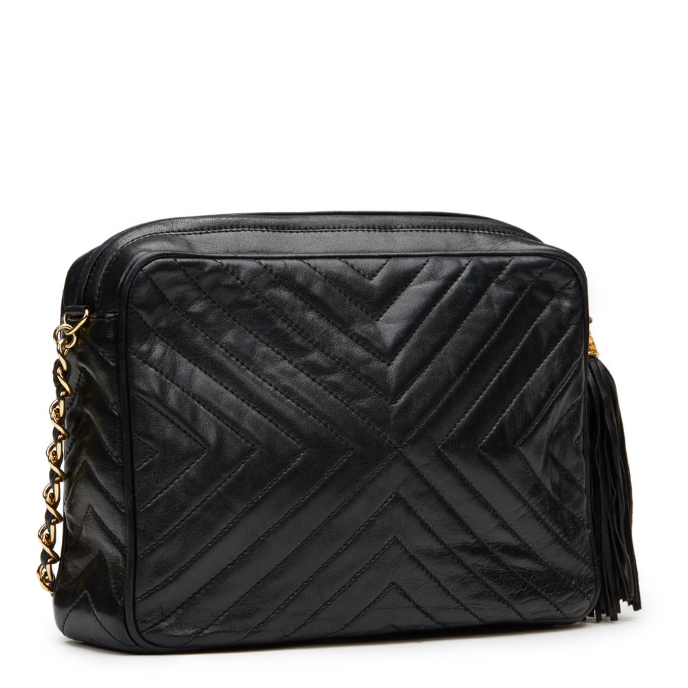 6ebb453930ee Chanel Black Chevron Quilted Lambskin Vintage Timeless Fringe Camera Bag
