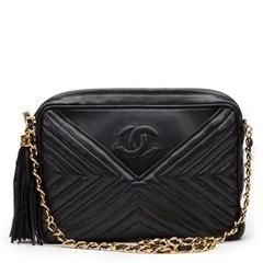 Chanel Black Chevron Quilted Lambskin Vintage Timeless Fringe Camera Bag