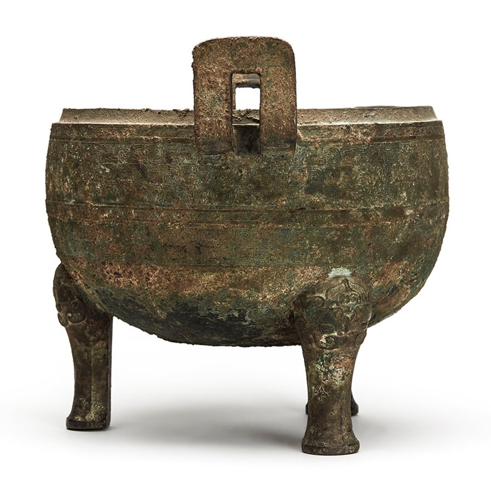 ANCIENT CHINESE BRONZE CEREMONIAL DING LATE SHANG DYNASTY Believed to date from the mid-late Shang Dynasty