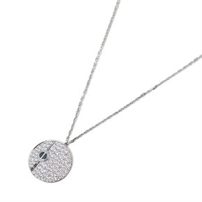 Cartier 18k White Gold Diamond & Onyx Love Pendant Necklace