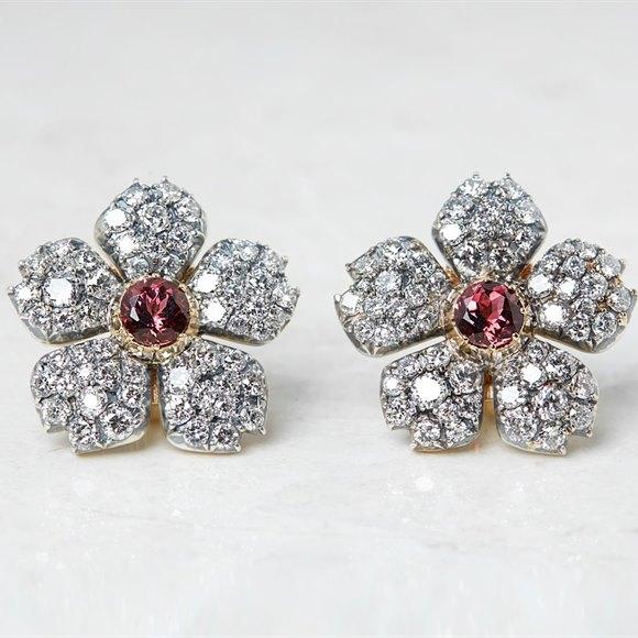 Cartier 18k White Gold 3.07ct Pink Tourmaline & 5.10ct Diamond Flower Earrings