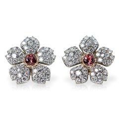 Cartier 18k White Gold 3.07ct Pink Tourmaline & 5.10ct Diamond Earrings