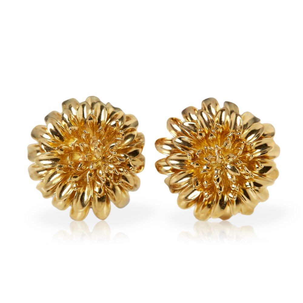Tiffany & Co. 18k Yellow Gold Clip-On Chrysanthemum Earrings