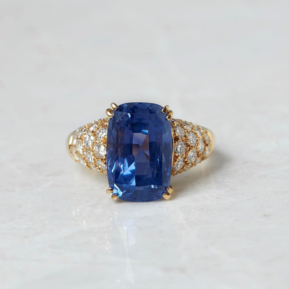 Van Cleef & Arpels 18k Yellow Gold 10.73ct Sapphire & 1.80ct Diamond Ring