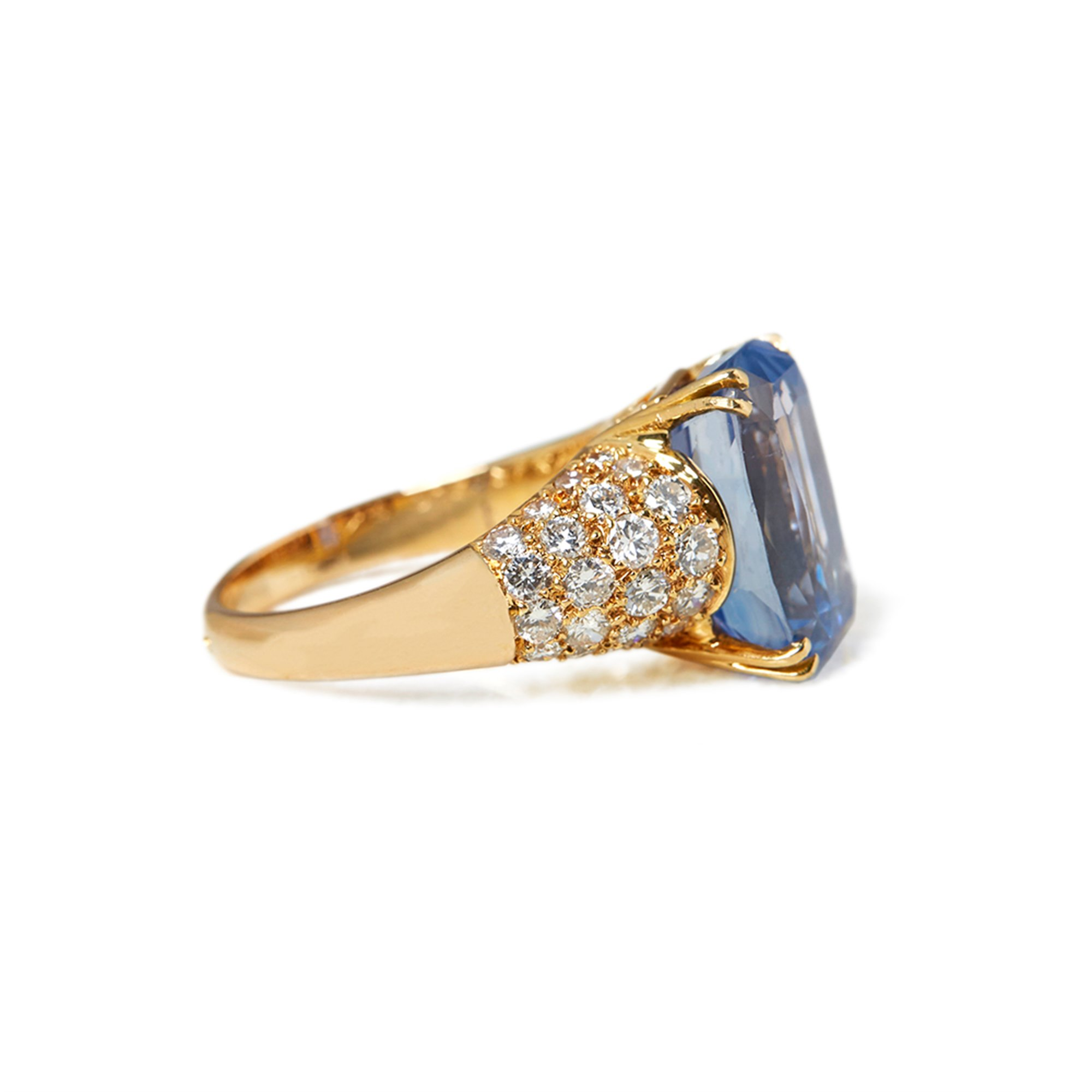 Van Cleef & Arpels 18k Yellow Gold Ceylon Sapphire & Diamond Cocktail Ring