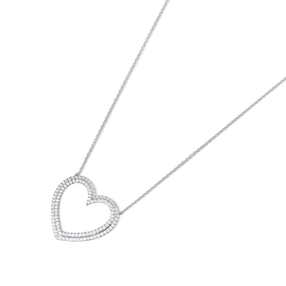 Tiffany & Co. Platinum Diamond Heart Metro Pendant Necklace