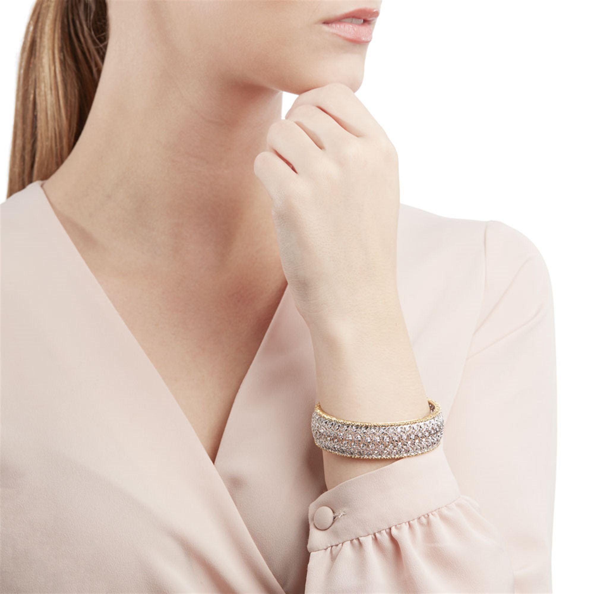 Buccellati 18k White & Yellow Gold Diamond Cuff Bracelet