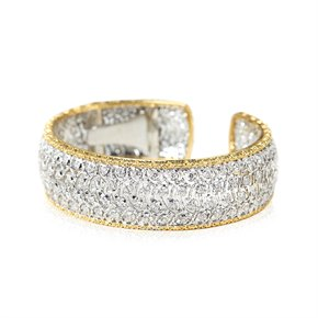 Buccellati 18k White & Yellow Gold Diamond Cuff Bracelet