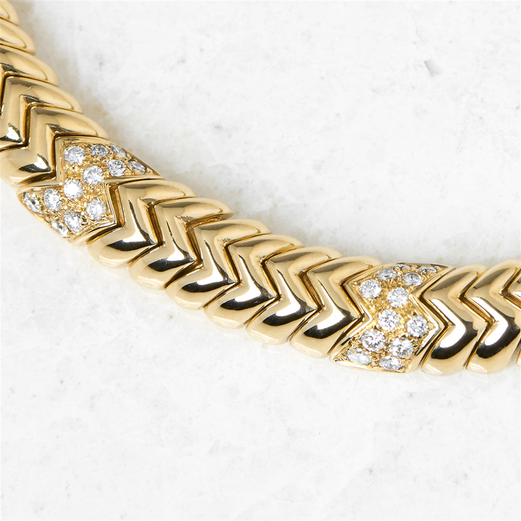 Bulgari 18k Yellow Gold Diamond Link Statement Necklace