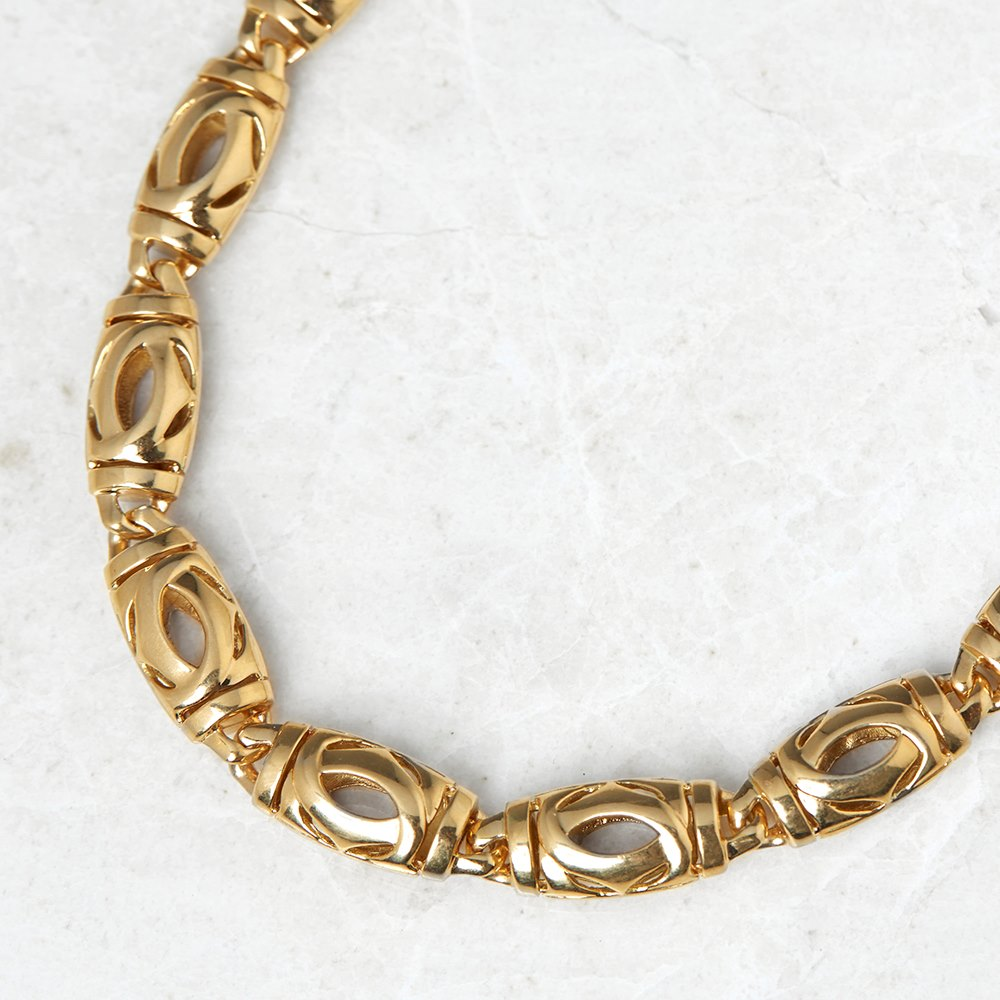 Cartier 18k Yellow Gold Double C Design Necklace