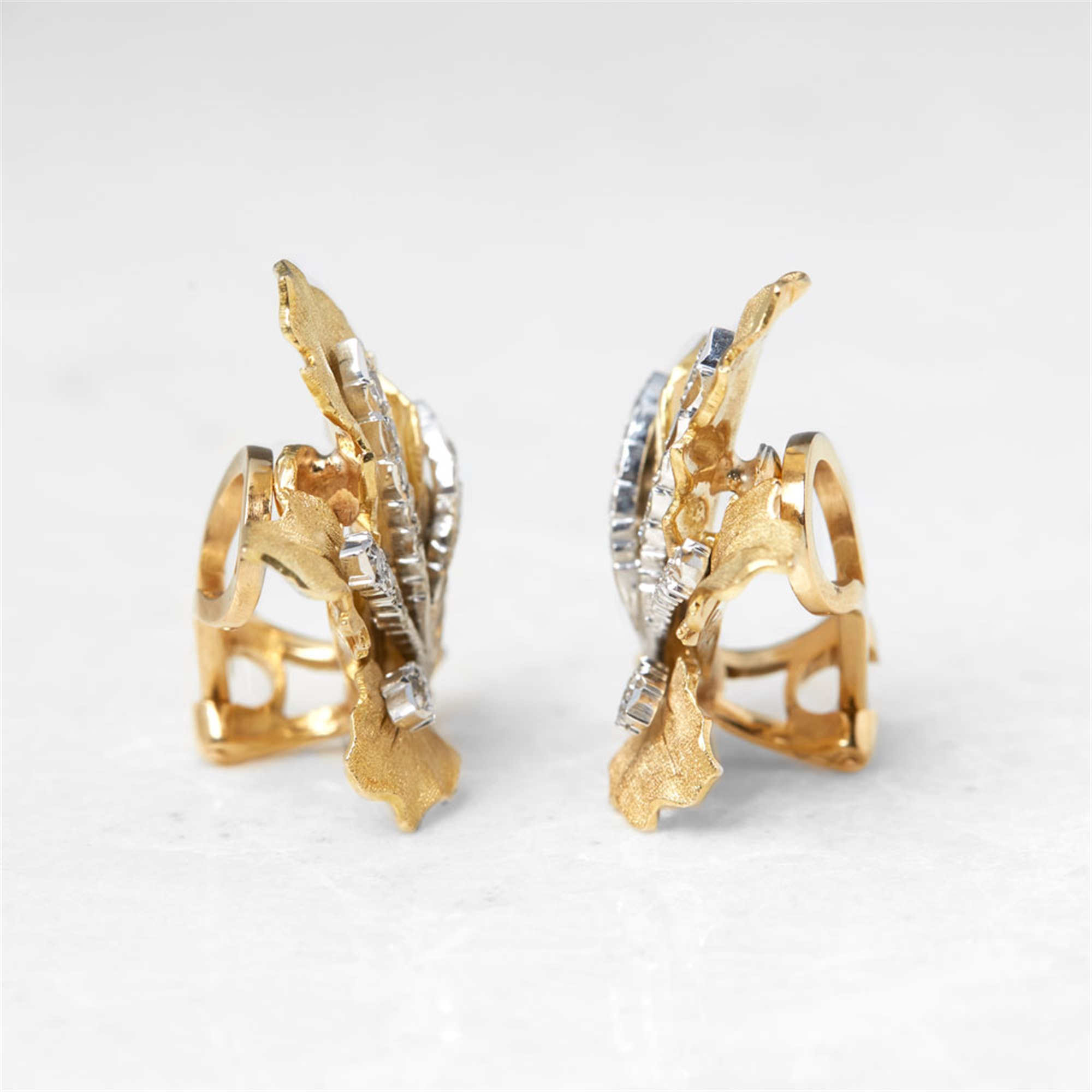 Buccellati 18k Yellow Gold Diamond Leaf Design Clip-On Earrings