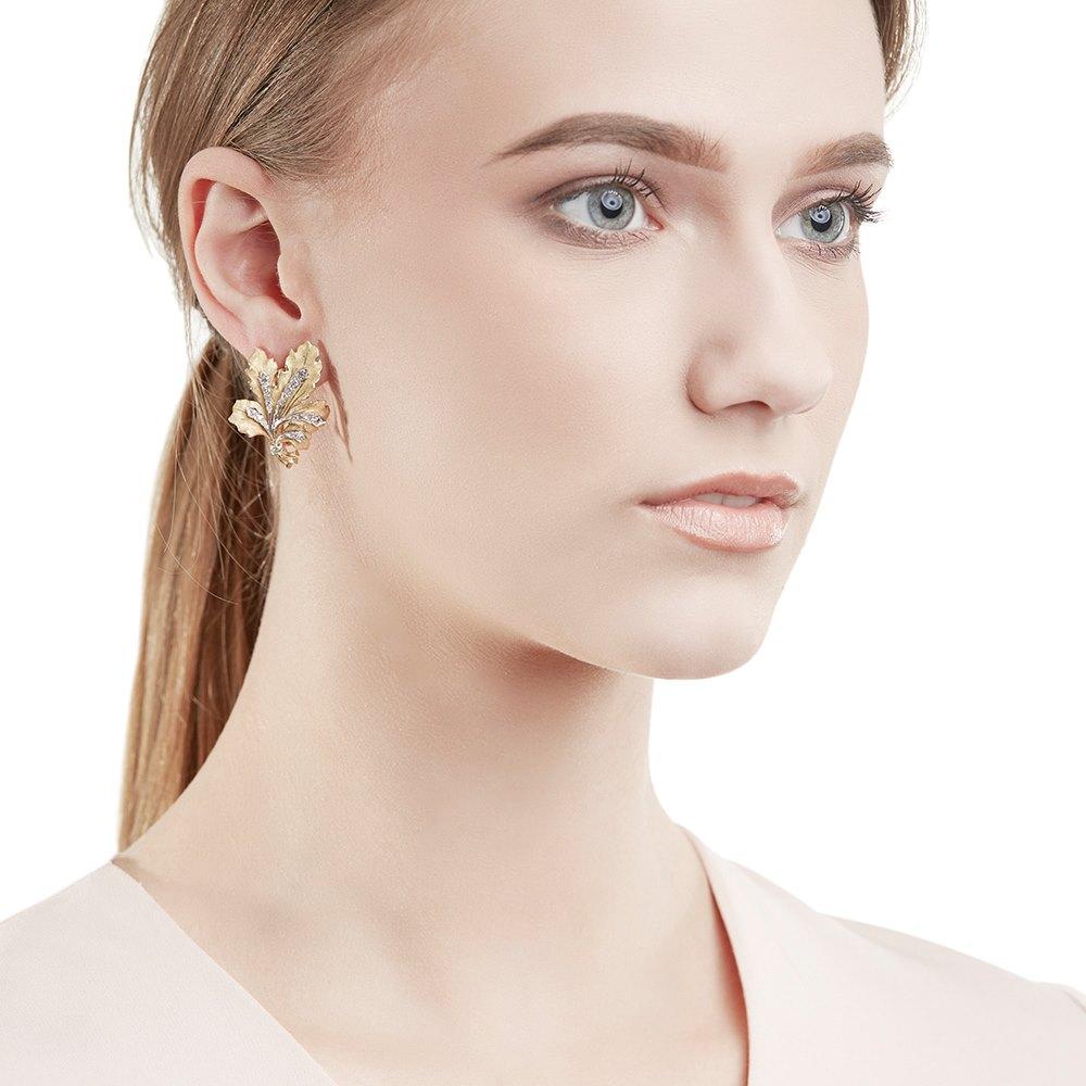 Buccellati 18k Yellow Gold Diamond Leaf Design Clip-On Earrings