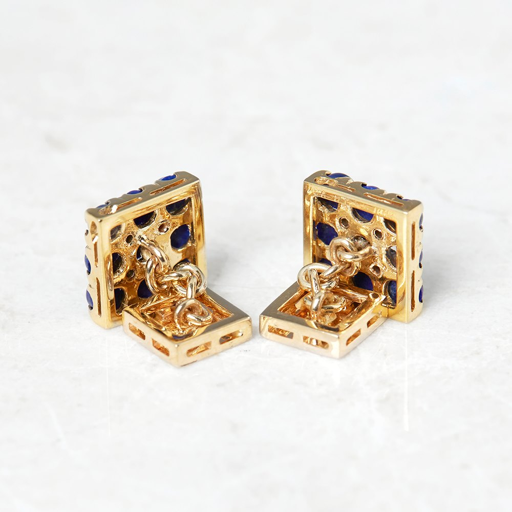 Van Cleef & Arpels 18k Yellow Gold Lapis Lazuli & Diamond Vintage Cufflinks