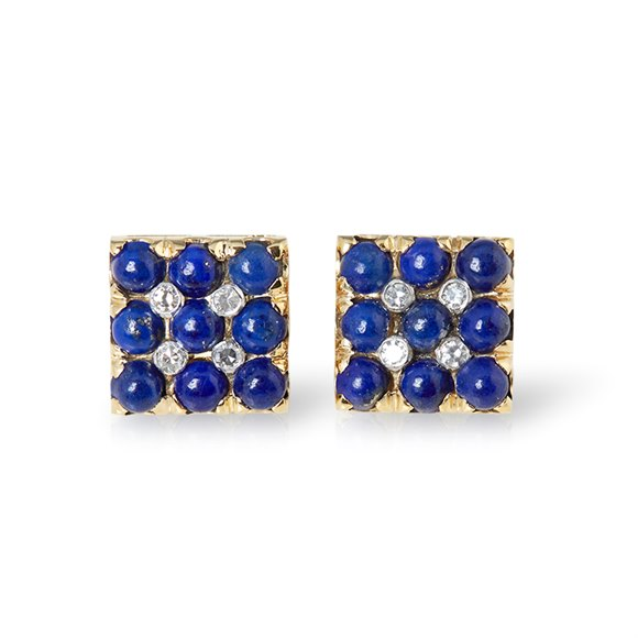 Van Cleef & Arpels 18k Yellow Gold Lapis Lazuli & 0.20ct Diamond Cufflinks
