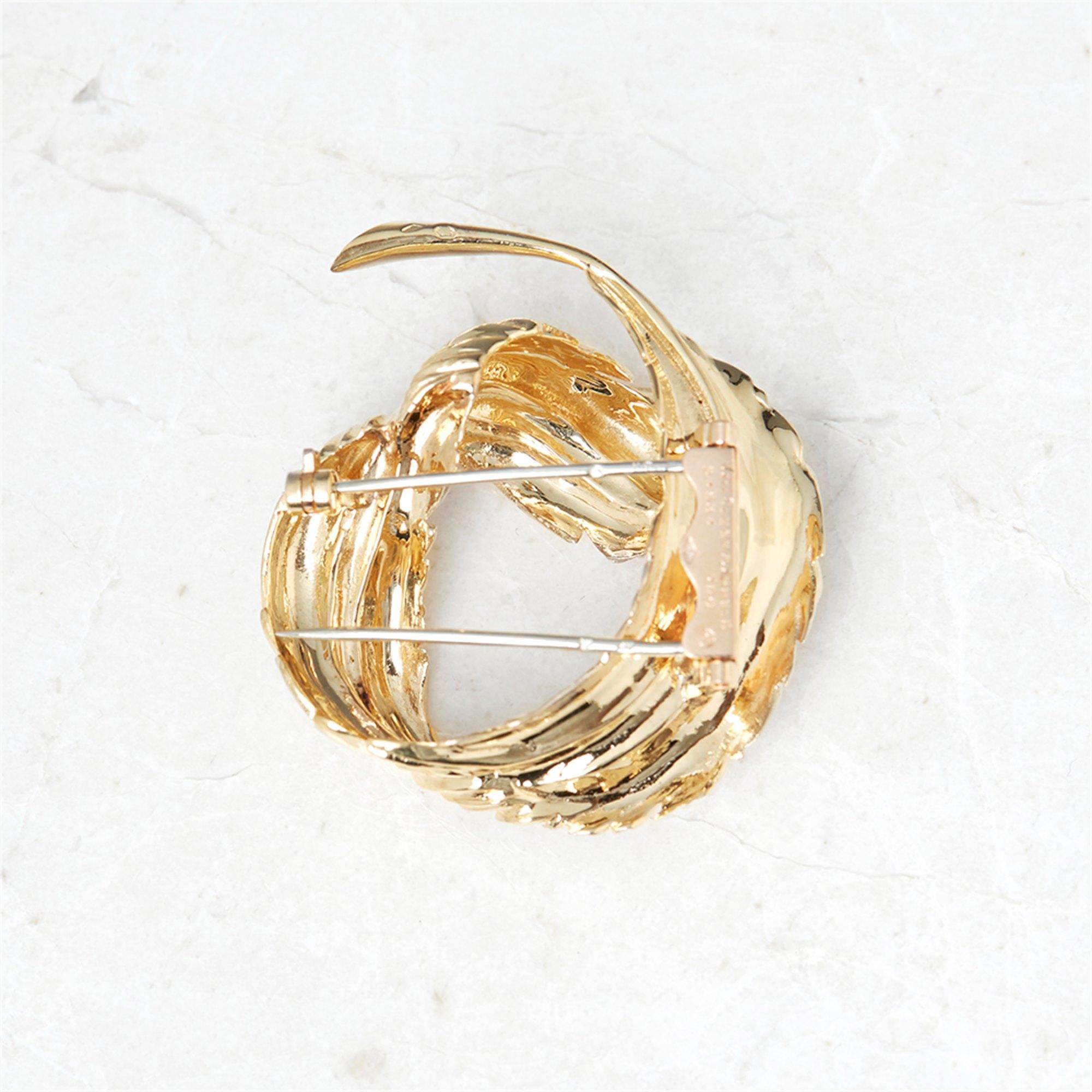 Van Cleef & Arpels 18k Yellow Gold Feather Design Vintage Brooch