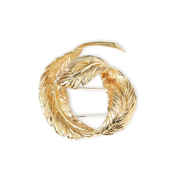 Van Cleef & Arpels 18k Yellow Gold Feather Design Vintage Brooch