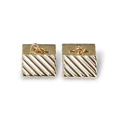 Tiffany & Co. 14k Yellow Gold Stripe Design Retro Cufflinks