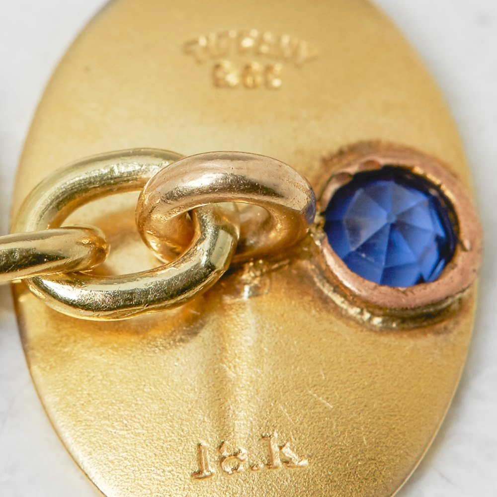 Tiffany & Co. 18k Yellow Gold 0.30ct Sapphire & 0.10ct Diamond Retro Cufflinks