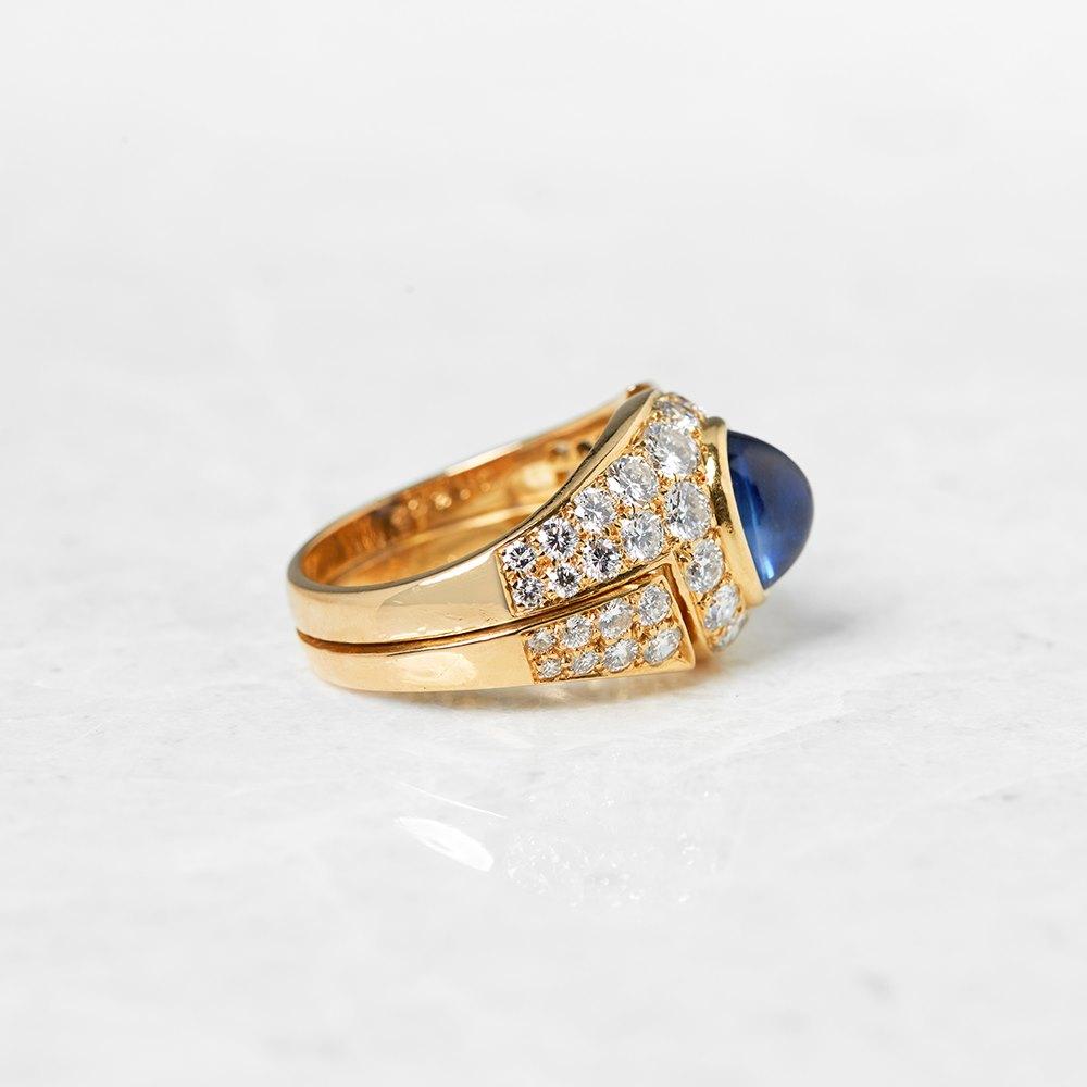 Bulgari 18k Yellow Gold Cabochon Sapphire & Diamond Cocktail Ring