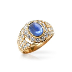 Bulgari 18k Yellow Gold Cabochon Sapphire & Diamond Cocktail Ring