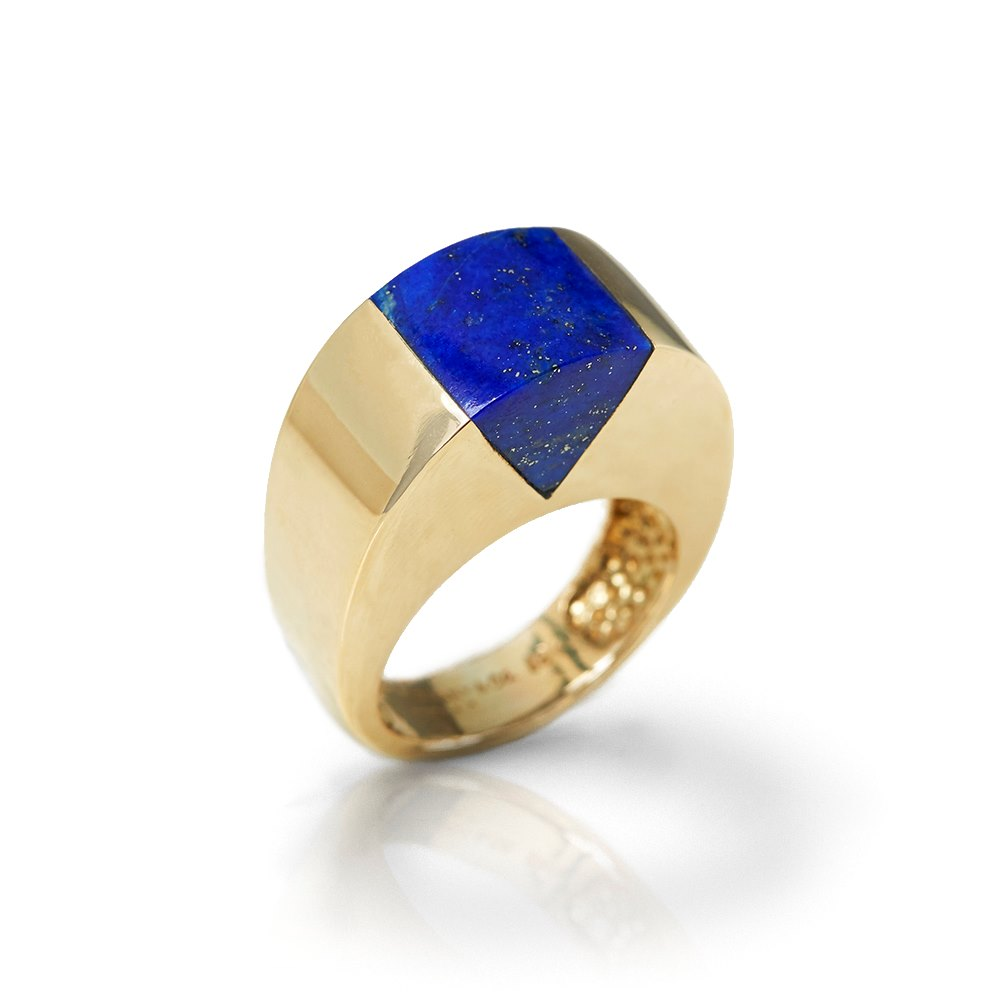 Tiffany & Co. 18k Yellow Gold Lapis Lazuli Dome Ring