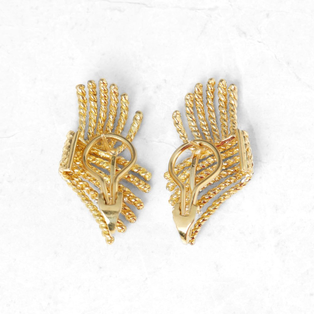 Tiffany & Co. 18k Yellow Gold Rope Design Schlumberger Earrings