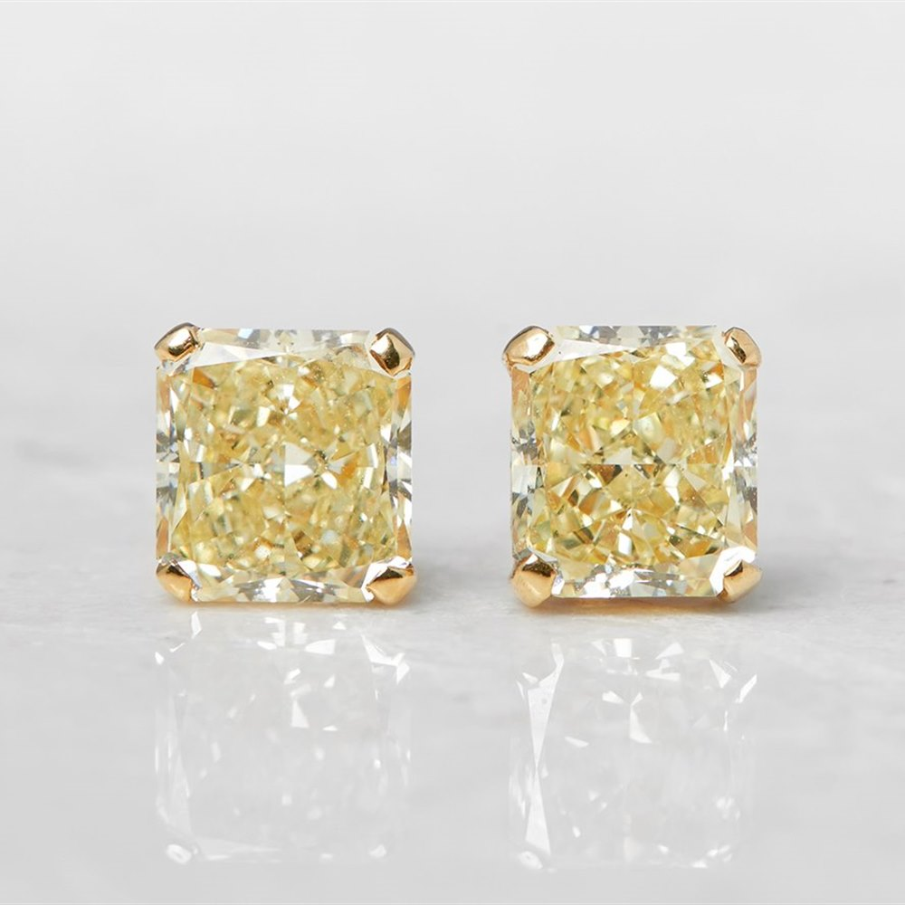diamond earrings yellow round backs brilliant screw gold stud