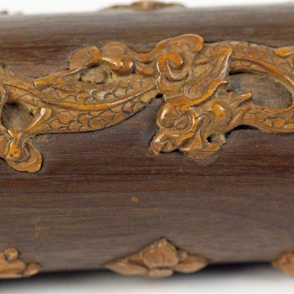 Chinese Inlaid Feather Box 19th Century