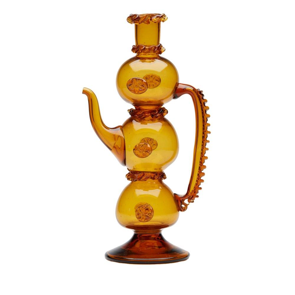 Amber English Glass Ewer 19th C. Latter 19th Century