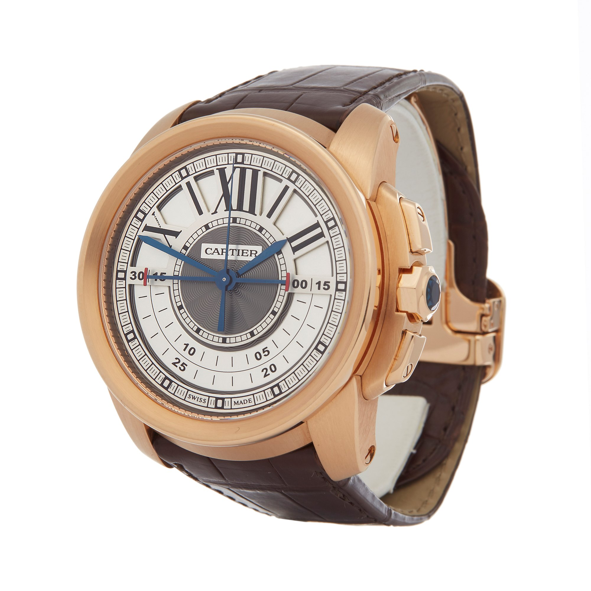 Cartier Calibre Central Chronograph 18K Rose Gold W7100004 or 3242