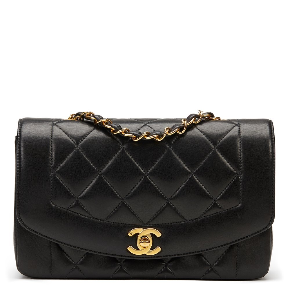 e8a4f5dc4c2 Chanel Black Quilted Lambskin Vintage Small Diana Classic Single Flap Bag