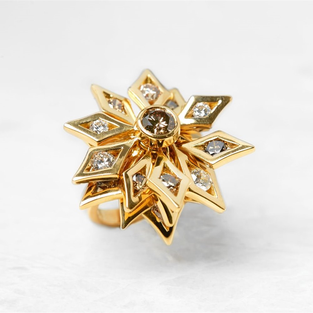 De Beers 18k Yellow Gold Fancy Brown & White Diamond Floral Dress Ring