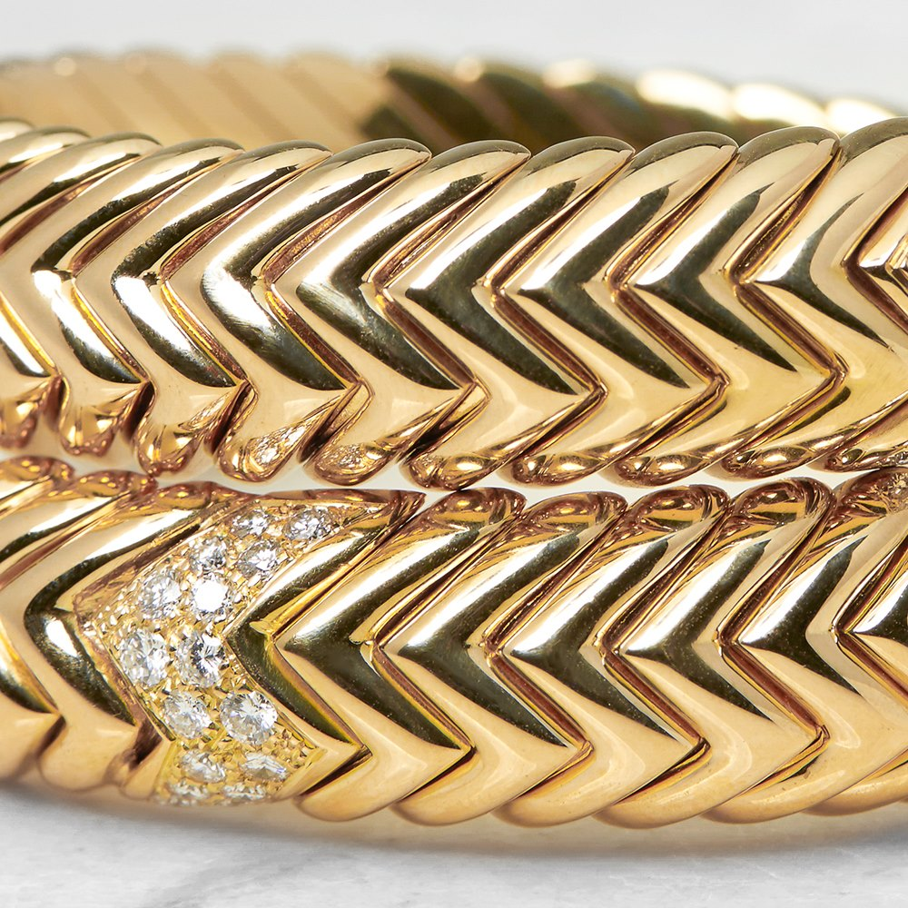 Bulgari 18k Yellow Gold 2.00ct Diamond Serpenti Bracelet