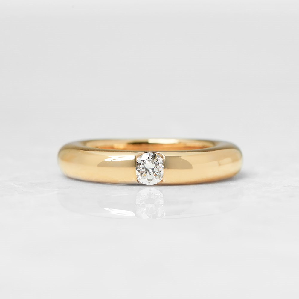 Cartier 18k Yellow Gold 0.25ct Diamond Stackable Elipse Ring