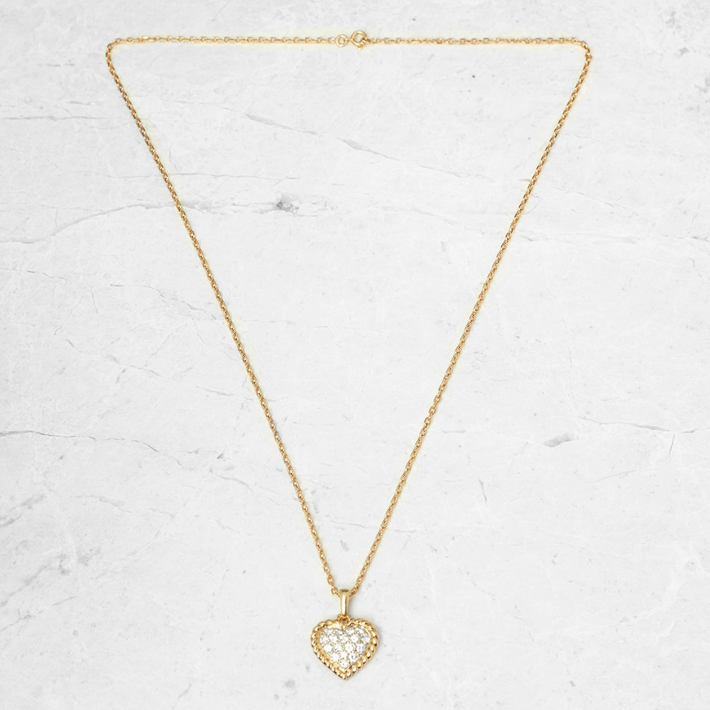 Van Cleef & Arpels 18k Yellow Gold 0.75ct Diamond Heart Necklace
