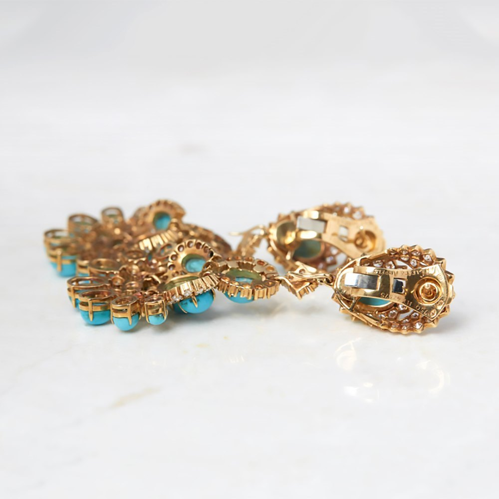 Van Cleef & Arpels 18k Yellow Gold Persian Turquoise & Diamond Vintage Pendant Earrings