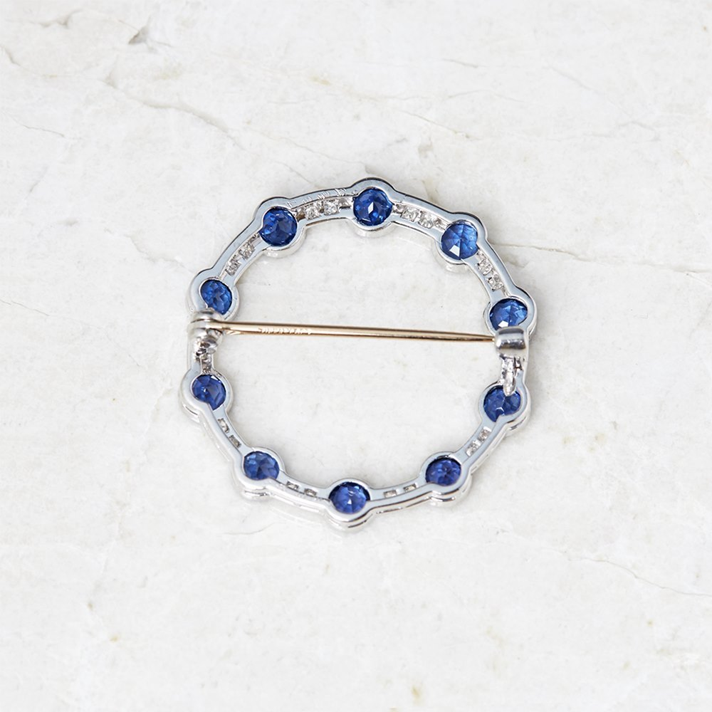 Tiffany & Co. Platinum Sapphire & Diamond Circle Vintage Brooch