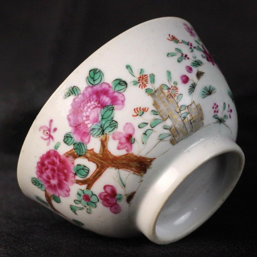 Chinese Famille Rose Peony Teabowl 18th Century