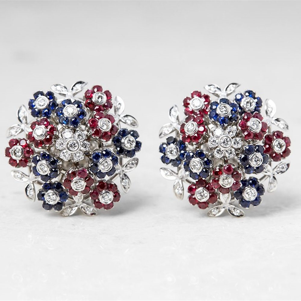 Cartier 18k White Gold Diamond, Ruby & Sapphire Trembler Earrings