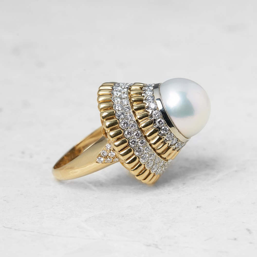 Van Cleef & Arpels 18k Yellow Gold Pearl & Diamond Cocktail Ring
