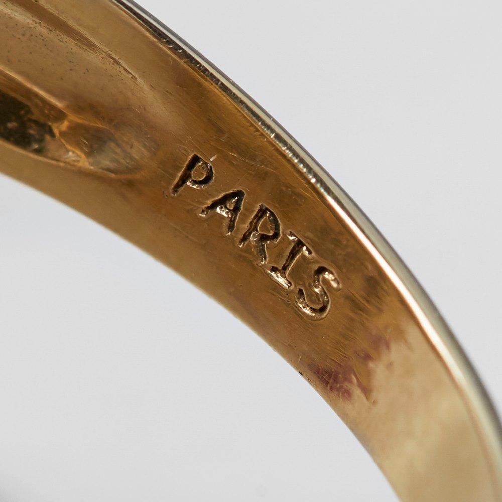 Van Cleef & Arpels 18k Yellow Gold Pearl & Diamond Cocktail Ring