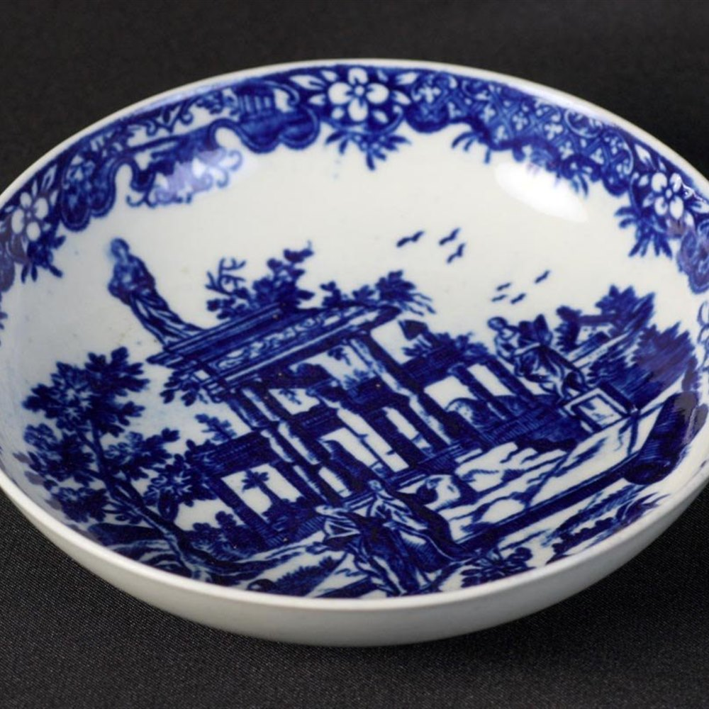 Worcester Classical Ruins Saucer Dish Circa 1770-85