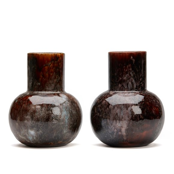 PAIR ROYAL WORCESTER ART POTTERY VASES 19TH C.