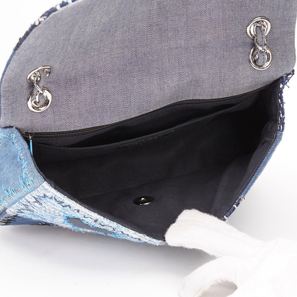 Chanel Blue Denim Patchwork Flap Bag
