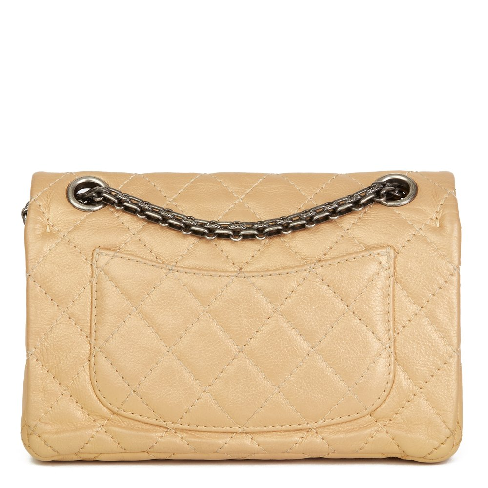a75c503496cf4e Chanel Gold Aged Metallic Calfskin Leather Lucky Charms 2.55 Reissue 224  Double Flap Bag